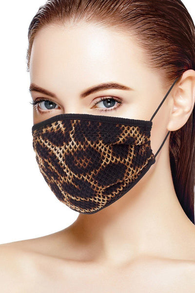 Mesh Leopard And Camouflage Print Face Mask CV2321