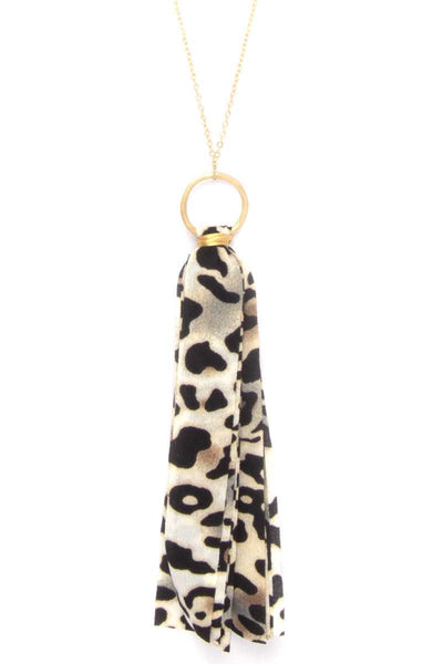 Animal Print Fabric Tassel Necklace