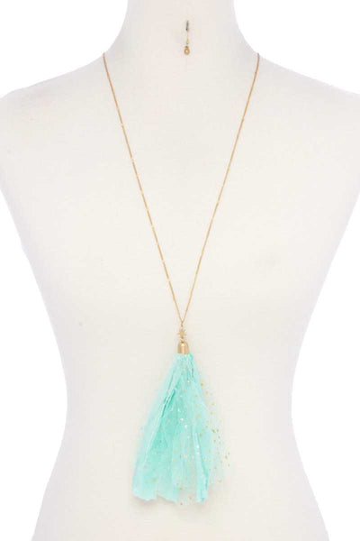 Metallic Stars Tulle Tassel Necklace