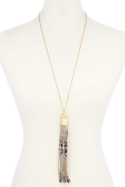 Snake Pattern Pu Leather Tassel Necklace