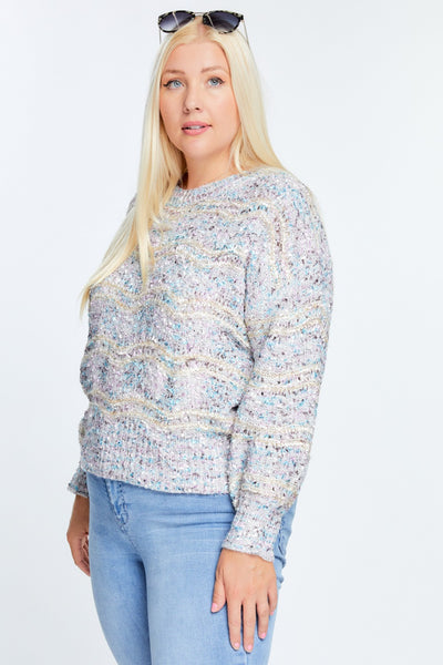 Multi Color Round Neck Long Sleeve Sweater
