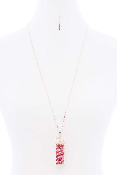 Rectangle Glass Bead Pendant Long Necklace