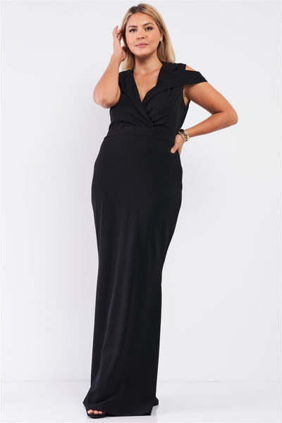 Plus Black Sleeveless Collared Plunging V-neck Maxi Dress