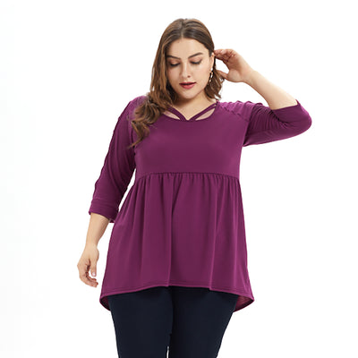 Plus Size Hollow out Sleeve Tops CS1864