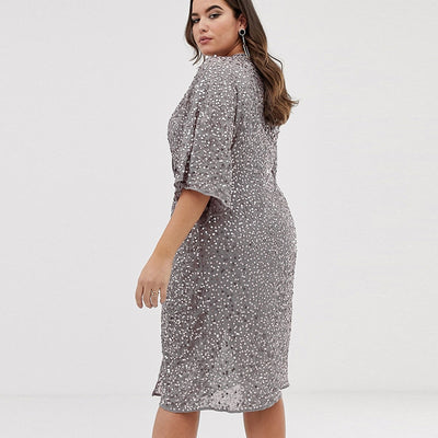 CURVESTYLES Twist Sequin Bell Dress CS1269