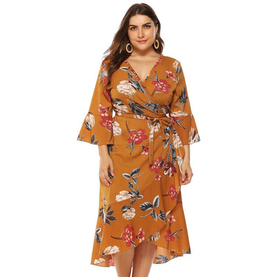 Plus Size Floral Printed Asymmetrical Dress CS1836
