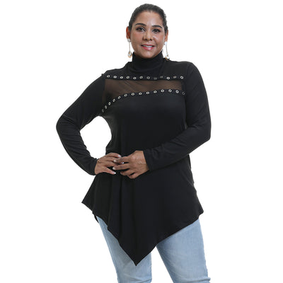 Curvestyles Hollw Out Lace Top Plus Size CS1254