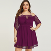 PLUS SIZE SPAGHETTI STRAP TIE-UP COLD SHOULDER LACE DRESS CS6703