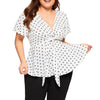 CURVESTYLES V-NECK POLKA DOT KNOT FRONT PLUS SIZE TOP CS2363