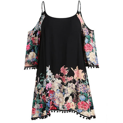 Plus Size Contrast Floral Print Cold Shoulder Dress 5XL Summer Spring Spaghetti Strap Tassel Long Sleeve Party Dresses Vestidos