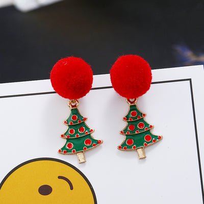 Christmas Evergreen Tree Red Plush Ball Earrings