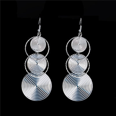 Long Earrings Round Dangle Pendientes Mujer Jewelry