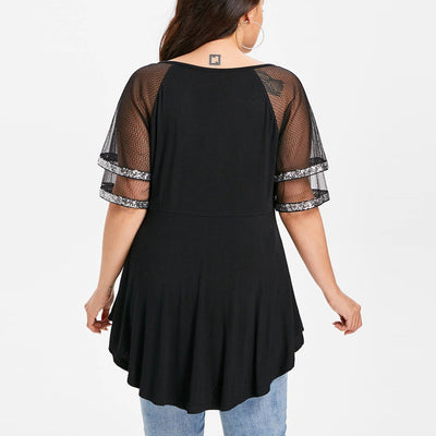 Plus Size Short Sleeve Mesh Tops CS1965