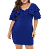 CURVESTYLES RUFFLE SHOULDER DRESS CS12191