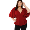 PLUS SIZE DARK RED V-NECK WRAP TOP CS6072