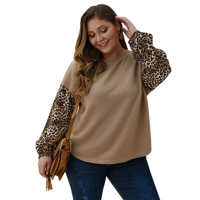 O Neck Sweater Pullover Leopard Khaki Plus Size