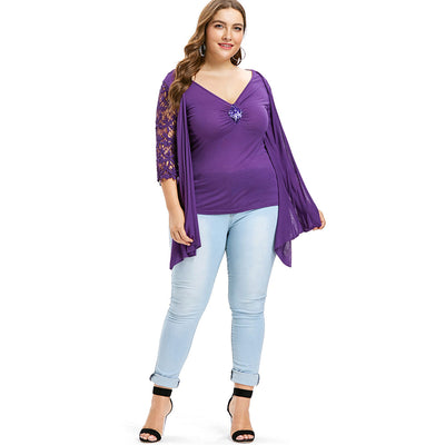 Curvestyles Twinset Lace Top Plus Size CS123