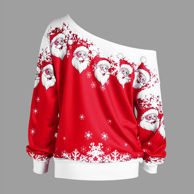 Xmas Shirt Santa Claus Print Shoulder Off Plus Size
