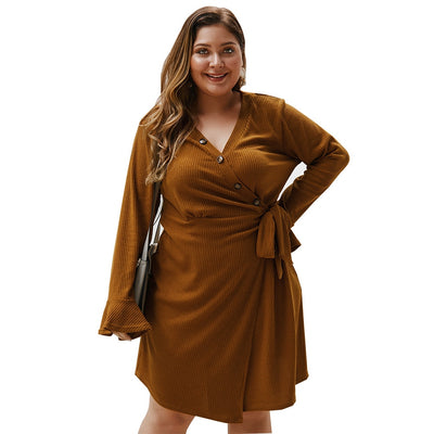 Winter Sexy Long Sleeve Casual Dresses Plus Size