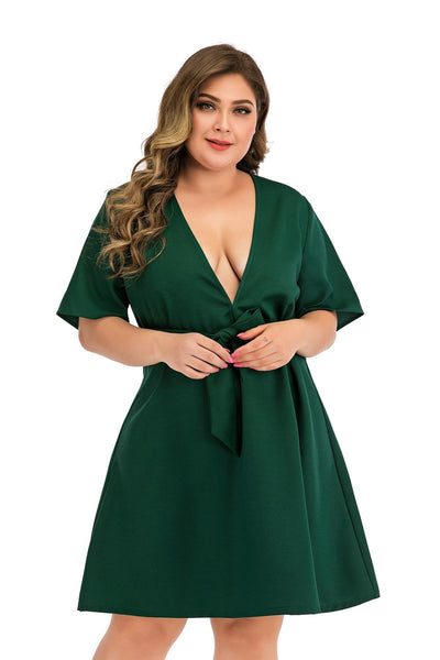 PLUS SIZE SEXY V-NECK GOTHIC PARTY DRESS CS1071