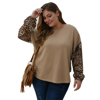 Loose O neck Sweater Pullover Leopard Khaki Plus Size