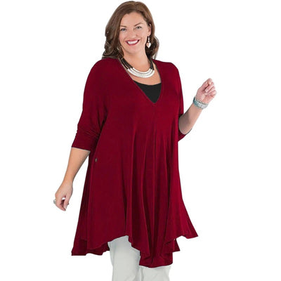 Curvestyles Red Elegant Top Plus Size CS1233