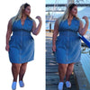 Curvestyles Zipper Pocket Dress Plus Size CS1251