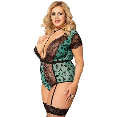 NEW NOW Sexy Black V Neck Lingerie Plus Size