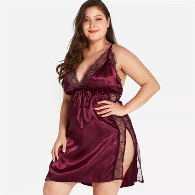 Curvestyles Lace Nightdress Solid V Neck Sexy CS2011