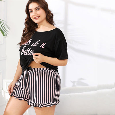 Curvestyles Letter Print Tee And Striped Shorts Pajama Sets CS1603