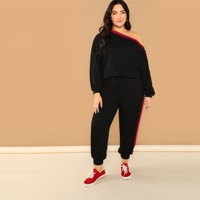 CURVESTYLES Sweatshirt & Pants Set CS2403