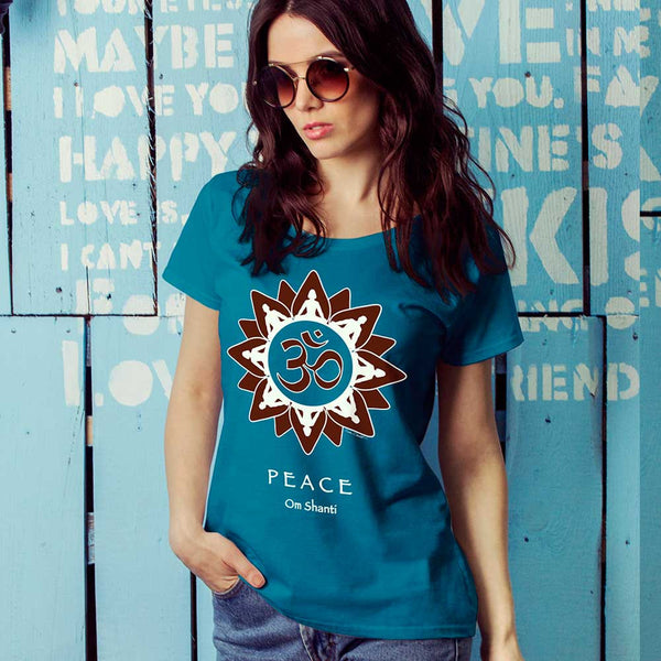 yoga themed women's peace t-shirt by Sushila Oliphant for Apparel for the Spirit.