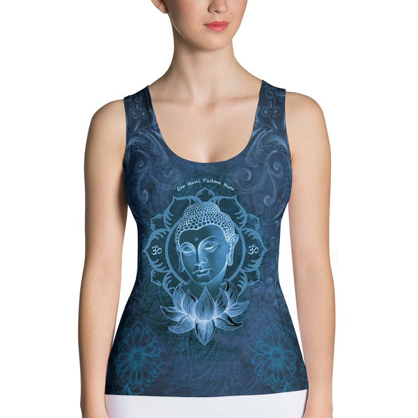 yoga tank top with Buddha, om sign, mantra, peace sign