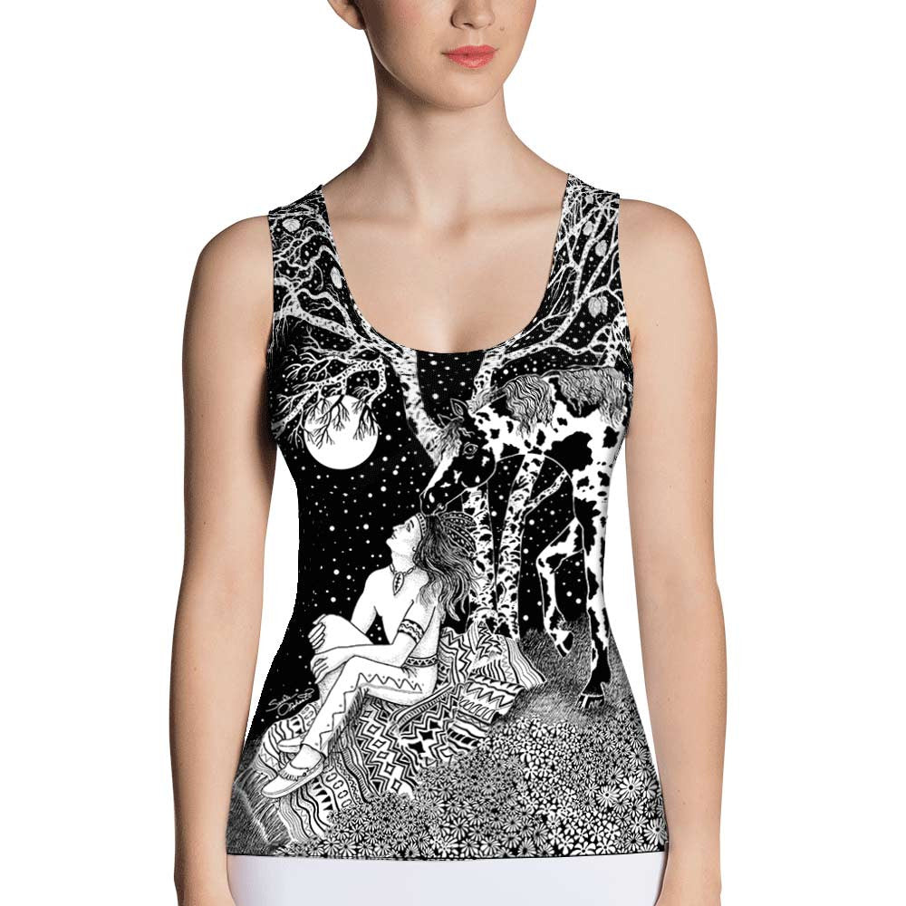 yoga tank top Native American Indian and horse by Sushila Oliphant