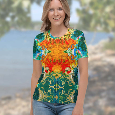 Women's t-shirt with a cosmic Eastern vibe designed  by Sushila Oliphant, Apparel for the Spirit.