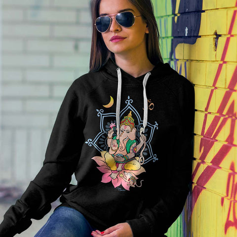 Sri Ganesha hoodie, artwork by Sushila Oliphant.