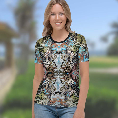 Women's cool yoga tee with a Celtic or Eastern flair. Designed by Sushila Oliphant, Apparel for the Spirit.