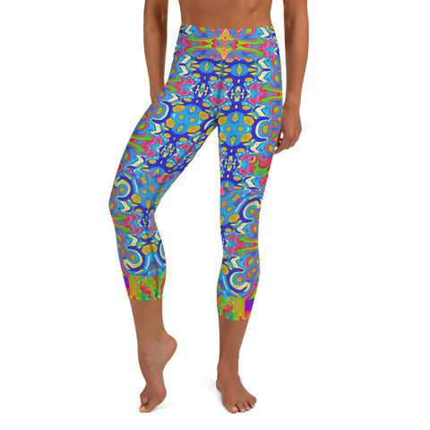 Cool hippy capri yoga leggings by Sushila Oliphant, Apparel for the Spirit.