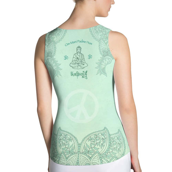 yoga tank top with Buddha, lotus, om sign, peace by Sushila Oliphant