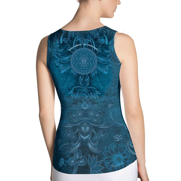 yoga tank top with Saraswati, om sign, peace by Sushila Oliphant
