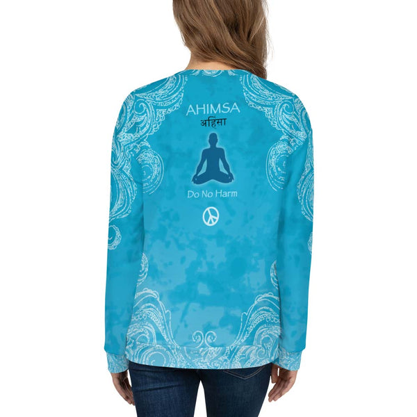 Spiritual yoga sweatshirt with yogi meditating, om sign and peace sign by Sushila Oiphant for apparel for the spirit.