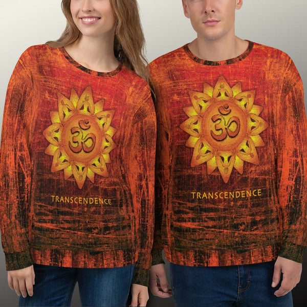 Spiritual unisex sweatshirt with om signs, meditating yogi and mandala by Sushila Oliphant.
