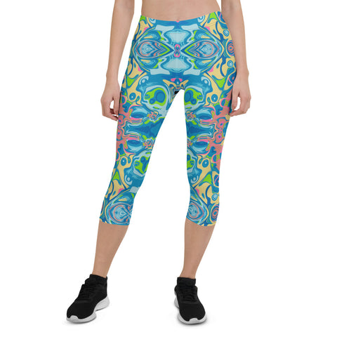 Totem, cool capri yoga leggings  by Sushila Oliphant for Apparel for the Spirit.