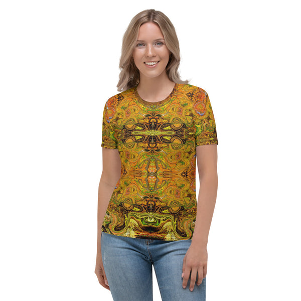Women's cool t-shirt with an Eastern flair. Designed by Sushila Oliphant, Apparel for the Spirit.