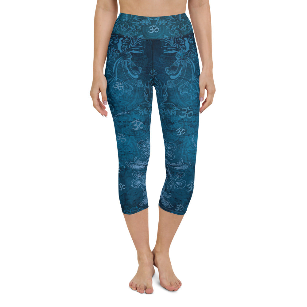 Saraswati yoga capri leggings with om signs and mantras by Sushila Oliphant, Apparel for the Spirit.