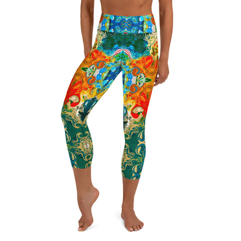 Capris leggings wear to workouts at the gym, yoga classes designer Sushila Oliphant for Apparel for the Spirit.