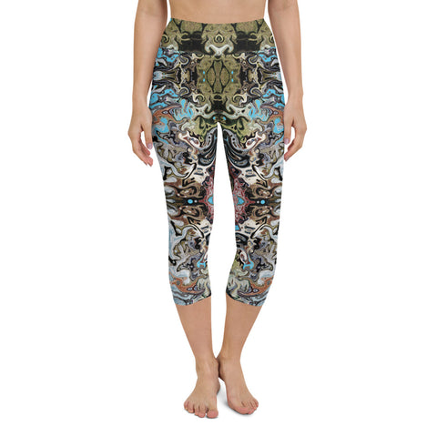 Women's cool yoga capri leggings with a Celtic or Eastern flair. Designed by Sushila Oliphant, Apparel for the Spirit.