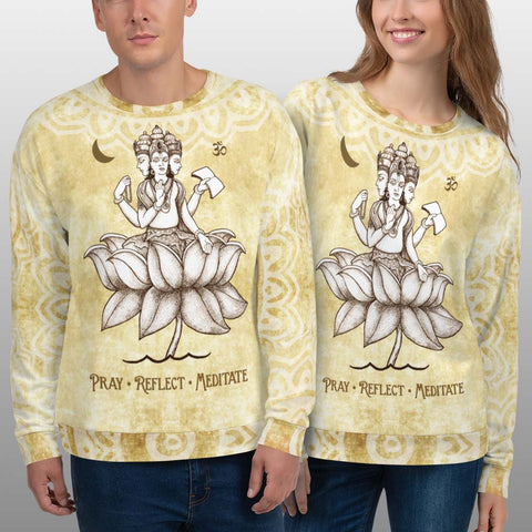 Brahman, a Hindu Diety, yoga sweatshirt by artist Sushila Oliphant, apparel for the spirit