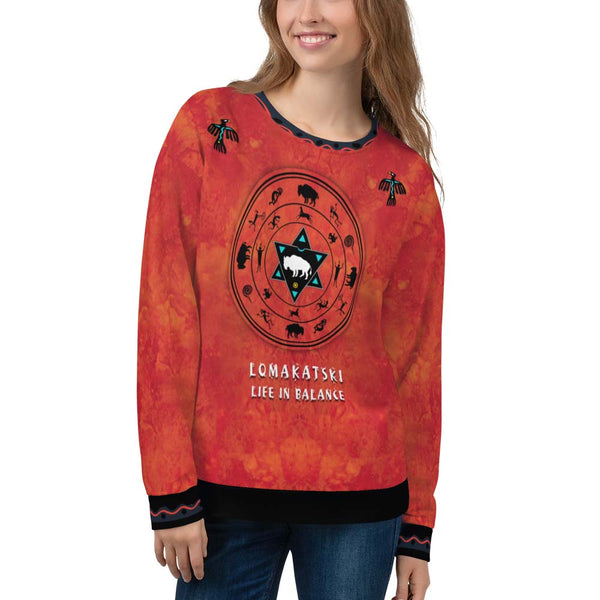 White Buffalo Medicine Wheel Native American sweatshirt by Sushila Oliphant for Apparel for the Spirit
