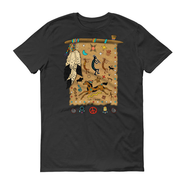 Short sleeve unisex t-shirt - PeacePipe Medicine Shield